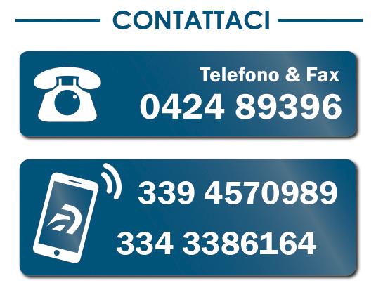 Contattaci. numero di telefono, fax e cellulare. 0424 89396 - 339 4570989 - 334 3386164